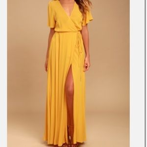 Lulu's yellow much obliged wrap dress